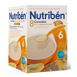 Papilla Nutribén 8 Cereales con un Toque de Miel y Galletas María 600 gr